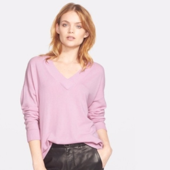 Vince V Neck 100% Cashmere Sweater Pink Size XS